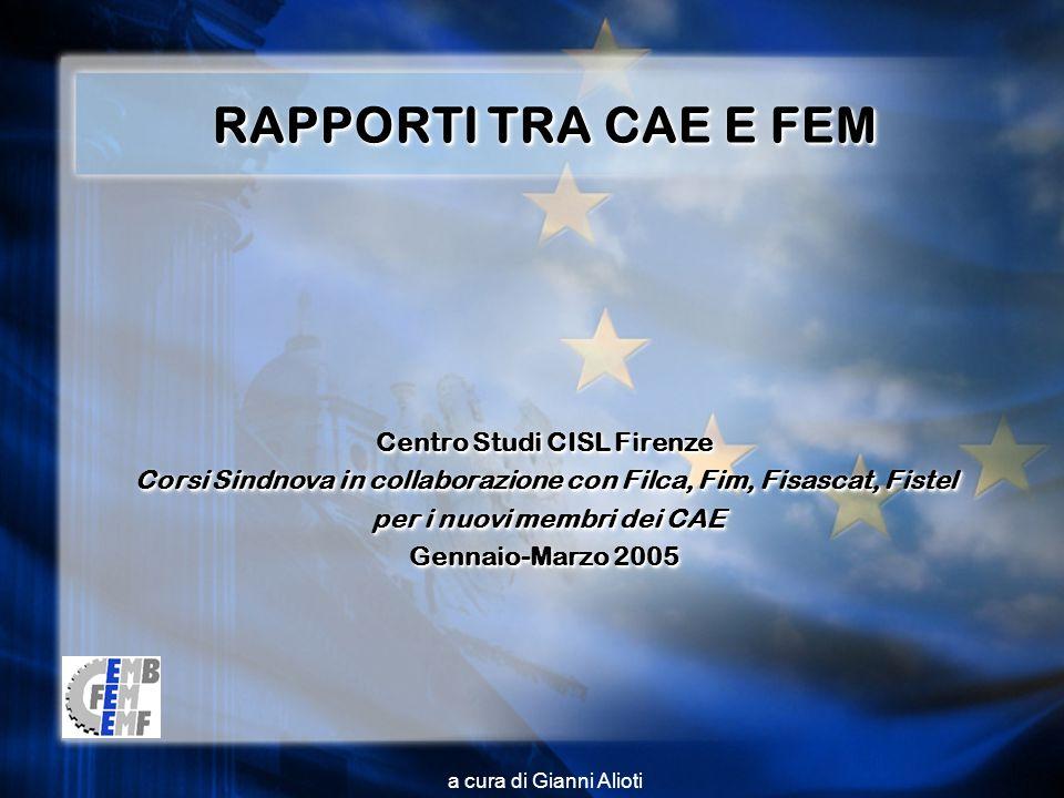 a cura di Gianni Alioti RAPPORTI TRA CAE E FEM Centro Studi CISL Firenze Corsi Sindnova in collaborazione con Filca, Fim, Fisascat, Fistel per i nuovi membri dei CAE per i nuovi membri dei CAE Gennaio-Marzo 2005