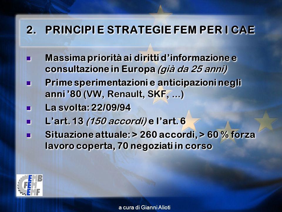 2.PRINCIPI E STRATEGIE FEM PER I CAE Massima priorità ai diritti dinformazione e consultazione in Europa (già da 25 anni) Massima priorità ai diritti dinformazione e consultazione in Europa (già da 25 anni) Prime sperimentazioni e anticipazioni negli anni 80 (VW, Renault, SKF,...) Prime sperimentazioni e anticipazioni negli anni 80 (VW, Renault, SKF,...) La svolta: 22/09/94 La svolta: 22/09/94 Lart.