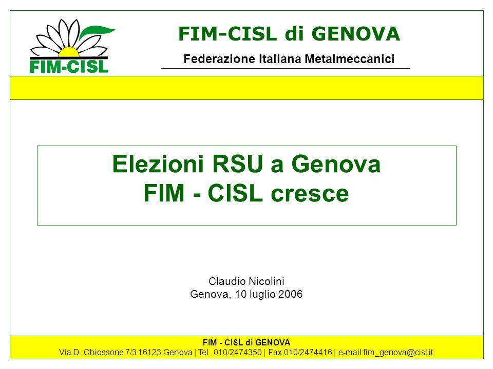 FIM-CISL di GENOVA Federazione Italiana Metalmeccanici FIM - CISL di GENOVA Via D. Chiossone 7/3 16123 Genova | Tel. 010/2474350 | Fax 010/2474416 | e
