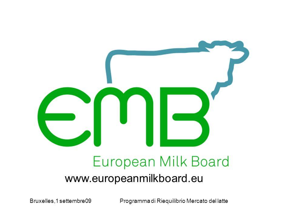Bruxelles,1 settembre09Programma di Riequilibrio Mercato del latte www.europeanmilkboard.eu
