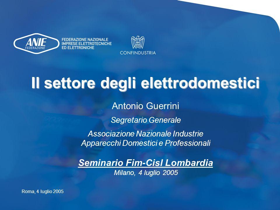 Il settore degli elettrodomestici Antonio Guerrini Segretario Generale Associazione Nazionale Industrie Apparecchi Domestici e Professionali Seminario