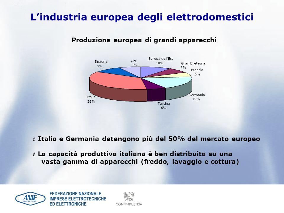 Lindustria europea degli elettrodomestici Gran Bretagna 7% Turchia 6% Germania 19% Francia 6% Italia 36% Spagna 9% Altri 7% Europa dellEst 10% Produzi