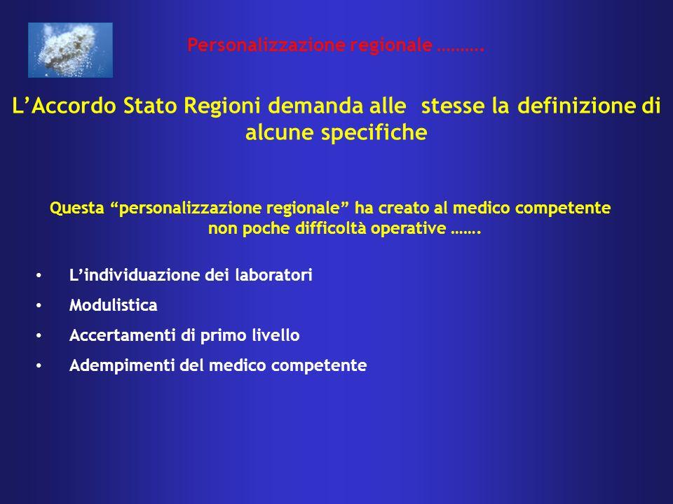 Questa personalizzazione regionale ha creato al medico competente non poche difficoltà operative …….