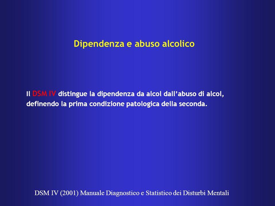 Il DSM IV distingue la dipendenza da alcol dallabuso di alcol, definendo la prima condizione patologica della seconda. DSM IV (2001) Manuale Diagnosti