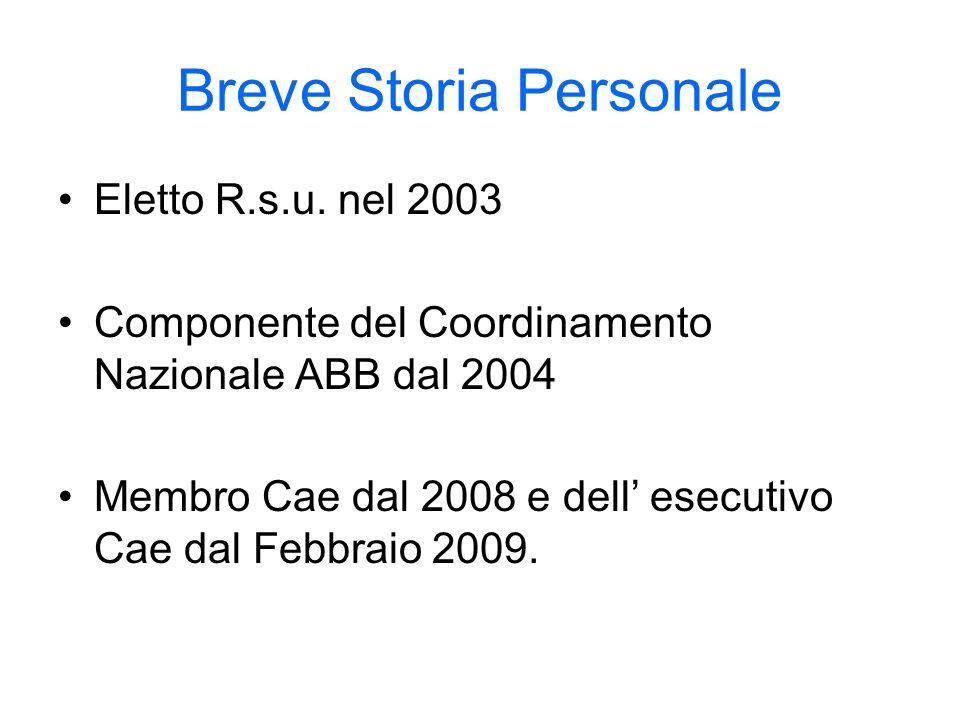 Breve Storia Personale Eletto R.s.u. nel 2003 Componente del Coordinamento Nazionale ABB dal 2004 Membro Cae dal 2008 e dell esecutivo Cae dal Febbrai