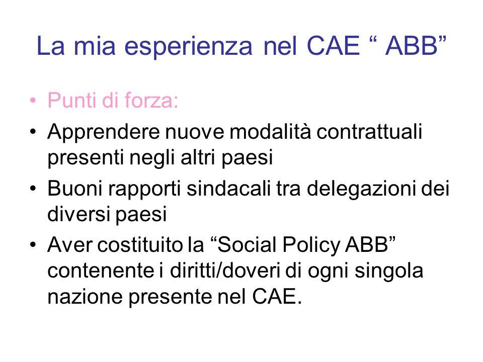 La mia esperienza nel CAE ABB Punti di forza: Apprendere nuove modalità contrattuali presenti negli altri paesi Buoni rapporti sindacali tra delegazio