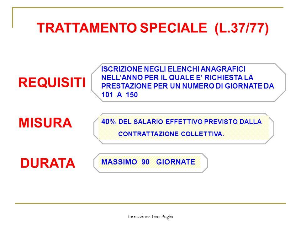 formazione Inas Puglia TRATTAMENTO SPECIALE (L.37/77) MISURA DURATA REQUISITI ISCRIZIONE NEGLI ELENCHI ANAGRAFICI NELLANNO PER IL QUALE E RICHIESTA LA