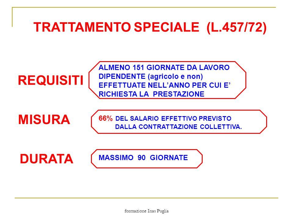 formazione Inas Puglia TRATTAMENTO SPECIALE (L.457/72) MISURA DURATA REQUISITI ALMENO 151 GIORNATE DA LAVORO DIPENDENTE (agricolo e non) EFFETTUATE NE