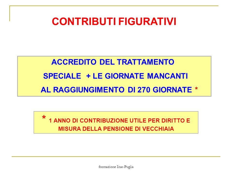 formazione Inas Puglia CONTRIBUTI FIGURATIVI ACCREDITO DEL TRATTAMENTO SPECIALE + LE GIORNATE MANCANTI AL RAGGIUNGIMENTO DI 270 GIORNATE * * 1 ANNO DI