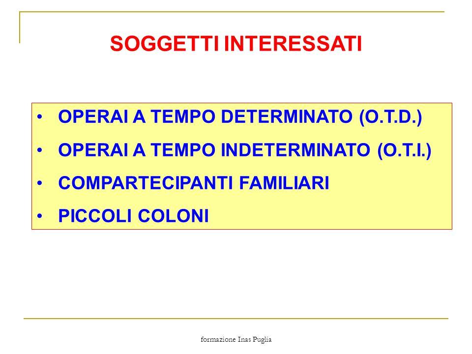 formazione Inas Puglia SOGGETTI INTERESSATI OPERAI A TEMPO DETERMINATO (O.T.D.) OPERAI A TEMPO INDETERMINATO (O.T.I.) COMPARTECIPANTI FAMILIARI PICCOL