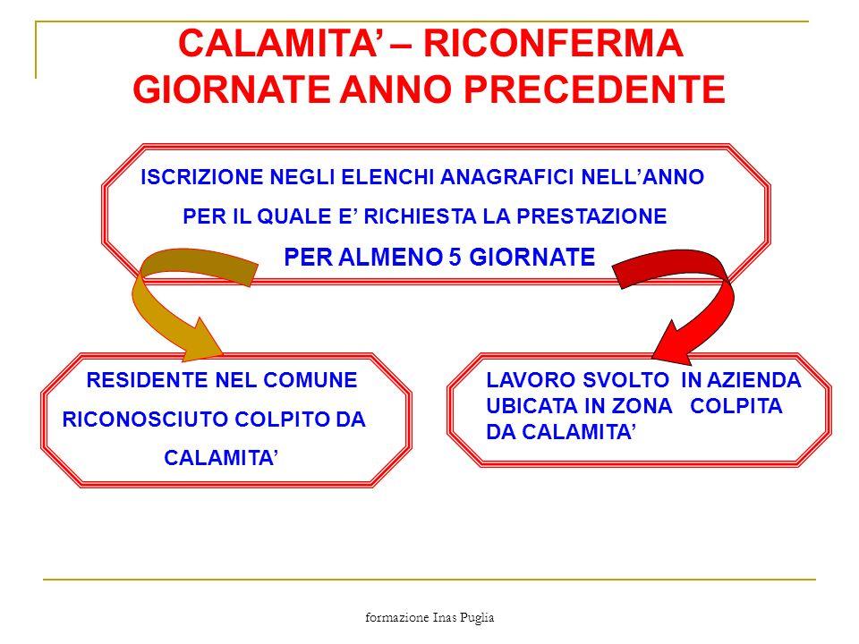 formazione Inas Puglia CALAMITA – RICONFERMA GIORNATE ANNO PRECEDENTE ISCRIZIONE NEGLI ELENCHI ANAGRAFICI NELLANNO PER IL QUALE E RICHIESTA LA PRESTAZ