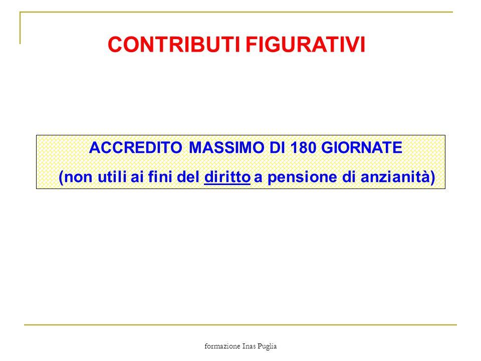 formazione Inas Puglia CONTRIBUTI FIGURATIVI ACCREDITO MASSIMO DI 180 GIORNATE (non utili ai fini del diritto a pensione di anzianità)