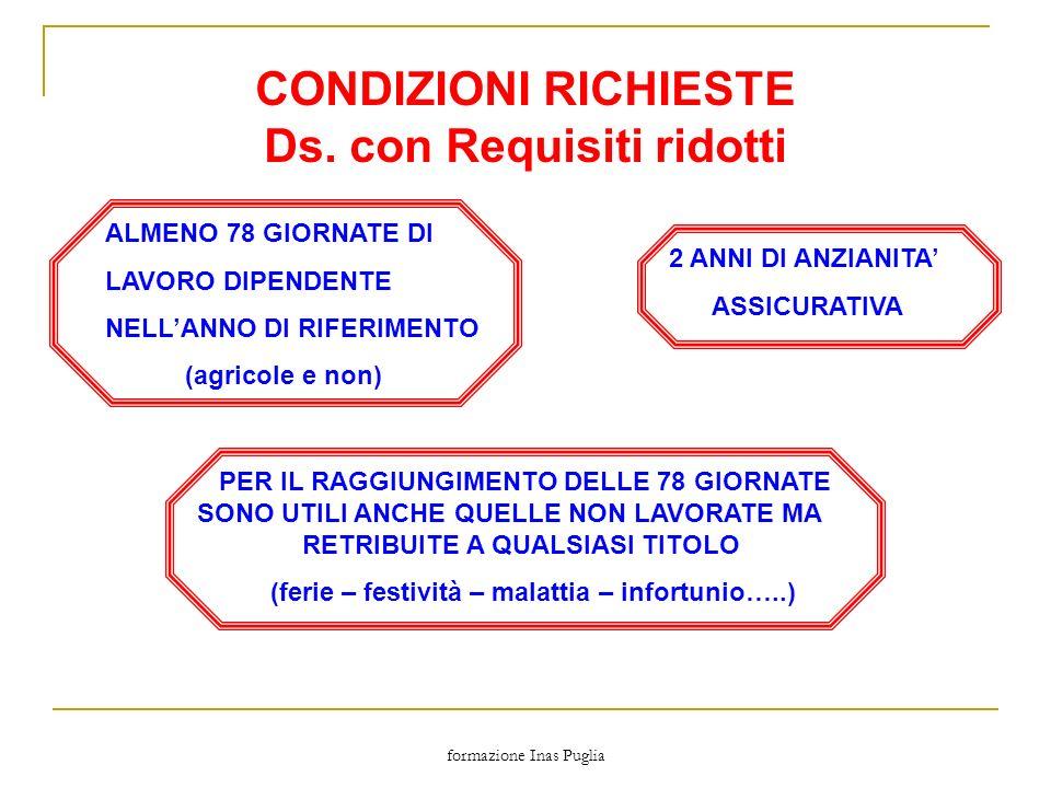 formazione Inas Puglia CONDIZIONI RICHIESTE Ds. con Requisiti ridotti 2 ANNI DI ANZIANITA ASSICURATIVA ALMENO 78 GIORNATE DI LAVORO DIPENDENTE NELLANN