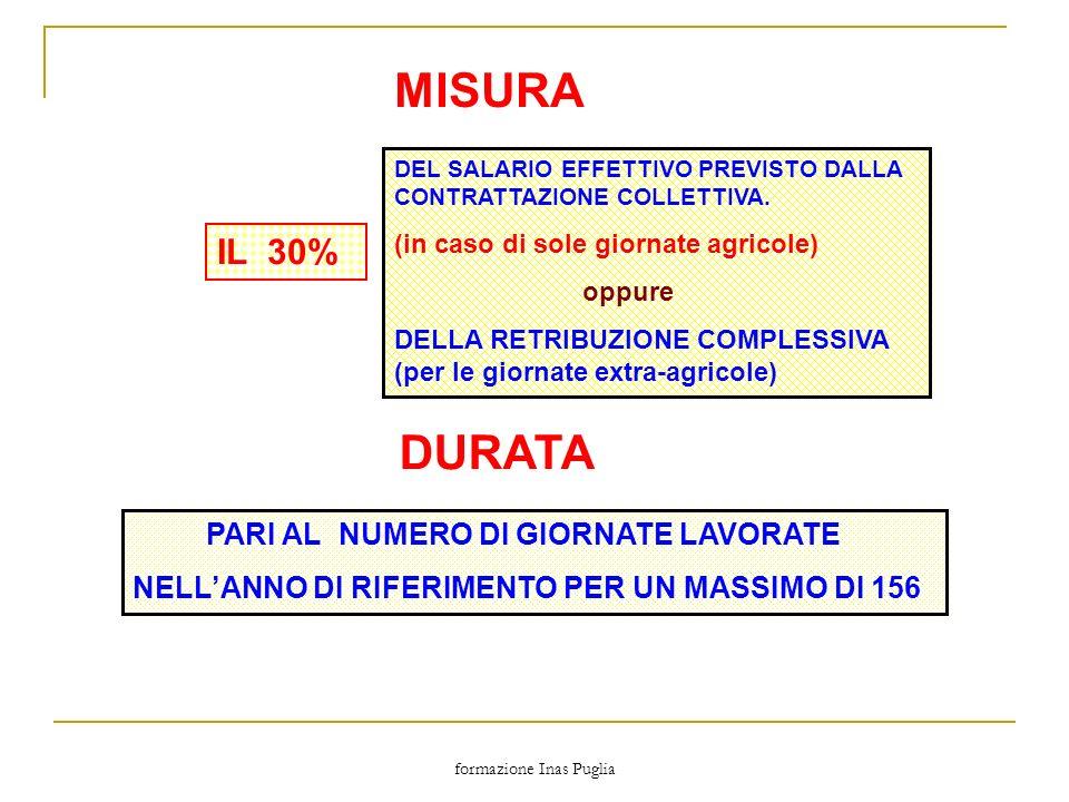 formazione Inas Puglia MISURA IL 30% DEL SALARIO EFFETTIVO PREVISTO DALLA CONTRATTAZIONE COLLETTIVA. (in caso di sole giornate agricole) oppure DELLA