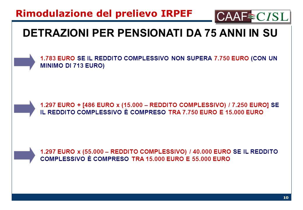 10 Rimodulazione del prelievo IRPEF DETRAZIONI PER PENSIONATI DA 75 ANNI IN SU 1.783 EURO SE IL REDDITO COMPLESSIVO NON SUPERA 7.750 EURO (CON UN MINI