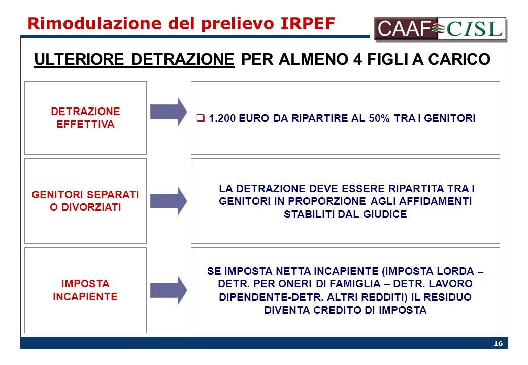 16 Rimodulazione del prelievo IRPEF ULTERIORE DETRAZIONE PER ALMENO 4 FIGLI A CARICO DETRAZIONE EFFETTIVA GENITORI SEPARATI O DIVORZIATI IMPOSTA INCAPIENTE 1.200 EURO DA RIPARTIRE AL 50% TRA I GENITORI LA DETRAZIONE DEVE ESSERE RIPARTITA TRA I GENITORI IN PROPORZIONE AGLI AFFIDAMENTI STABILITI DAL GIUDICE SE IMPOSTA NETTA INCAPIENTE (IMPOSTA LORDA – DETR.