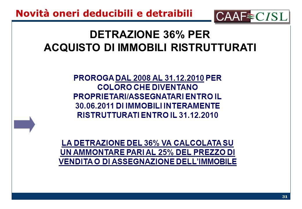 31 Novità oneri deducibili e detraibili DETRAZIONE 36% PER ACQUISTO DI IMMOBILI RISTRUTTURATI PROROGA DAL 2008 AL 31.12.2010 PER COLORO CHE DIVENTANO PROPRIETARI/ASSEGNATARI ENTRO IL 30.06.2011 DI IMMOBILI INTERAMENTE RISTRUTTURATI ENTRO IL 31.12.2010 LA DETRAZIONE DEL 36% VA CALCOLATA SU UN AMMONTARE PARI AL 25% DEL PREZZO DI VENDITA O DI ASSEGNAZIONE DELLIMMOBILE