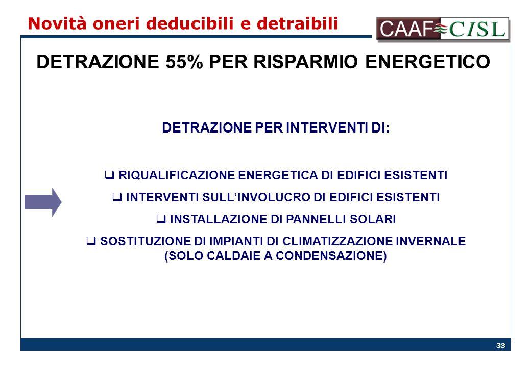 33 Novità oneri deducibili e detraibili DETRAZIONE 55% PER RISPARMIO ENERGETICO DETRAZIONE PER INTERVENTI DI: RIQUALIFICAZIONE ENERGETICA DI EDIFICI ESISTENTI INTERVENTI SULLINVOLUCRO DI EDIFICI ESISTENTI INSTALLAZIONE DI PANNELLI SOLARI SOSTITUZIONE DI IMPIANTI DI CLIMATIZZAZIONE INVERNALE (SOLO CALDAIE A CONDENSAZIONE)
