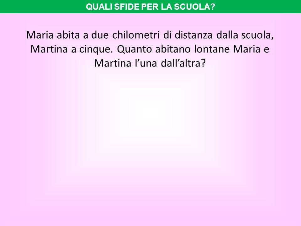 Maria abita a due chilometri di distanza dalla scuola, Martina a cinque. Quanto abitano lontane Maria e Martina luna dallaltra? QUALI SFIDE PER LA SCU