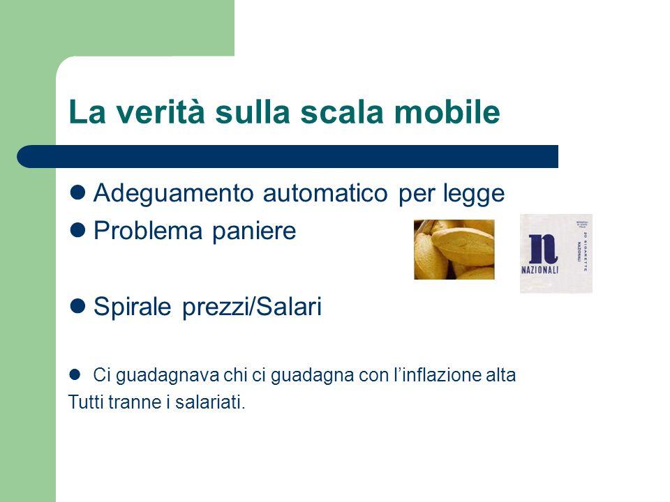 La verità sulla scala mobile Adeguamento automatico per legge Problema paniere Spirale prezzi/Salari Ci guadagnava chi ci guadagna con linflazione alta Tutti tranne i salariati.