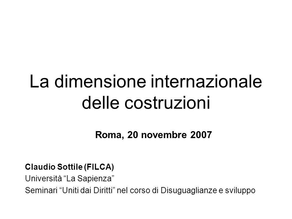 La dimensione internazionale delle costruzioni Roma, 20 novembre 2007 Claudio Sottile (FILCA) Università La Sapienza Seminari Uniti dai Diritti nel corso di Disuguaglianze e sviluppo
