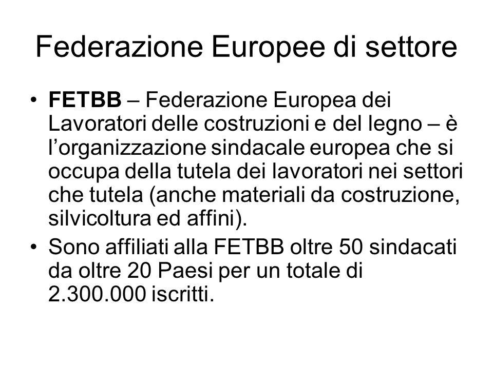 Federazione Europee di settore FETBB – Federazione Europea dei Lavoratori delle costruzioni e del legno – è lorganizzazione sindacale europea che si occupa della tutela dei lavoratori nei settori che tutela (anche materiali da costruzione, silvicoltura ed affini).