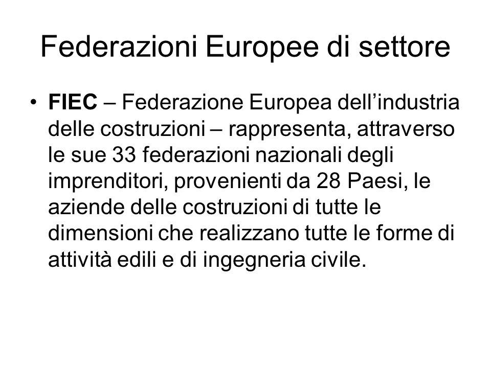 Federazioni Europee di settore FIEC – Federazione Europea dellindustria delle costruzioni – rappresenta, attraverso le sue 33 federazioni nazionali degli imprenditori, provenienti da 28 Paesi, le aziende delle costruzioni di tutte le dimensioni che realizzano tutte le forme di attività edili e di ingegneria civile.