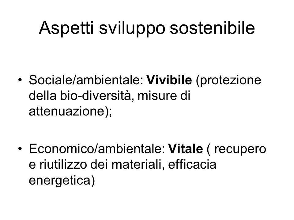 Aspetti sviluppo sostenibile Sociale/ambientale: Vivibile (protezione della bio-diversità, misure di attenuazione); Economico/ambientale: Vitale ( recupero e riutilizzo dei materiali, efficacia energetica)