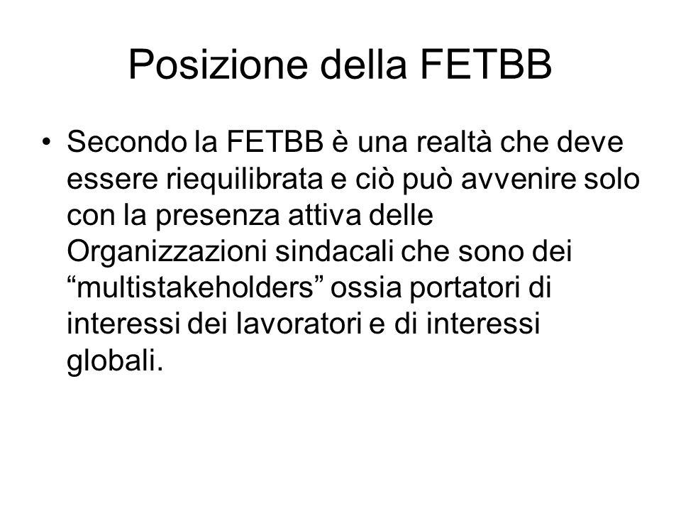 Posizione della FETBB Secondo la FETBB è una realtà che deve essere riequilibrata e ciò può avvenire solo con la presenza attiva delle Organizzazioni sindacali che sono dei multistakeholders ossia portatori di interessi dei lavoratori e di interessi globali.