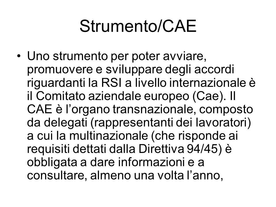 Strumento/CAE Uno strumento per poter avviare, promuovere e sviluppare degli accordi riguardanti la RSI a livello internazionale è il Comitato aziendale europeo (Cae).