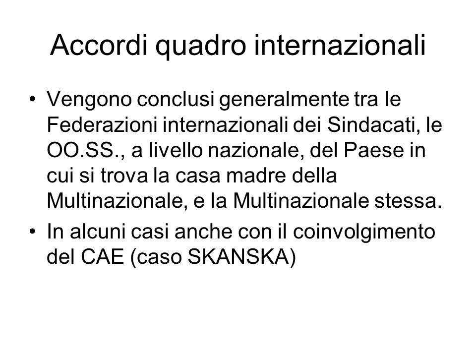 Accordi quadro internazionali Vengono conclusi generalmente tra le Federazioni internazionali dei Sindacati, le OO.SS., a livello nazionale, del Paese in cui si trova la casa madre della Multinazionale, e la Multinazionale stessa.