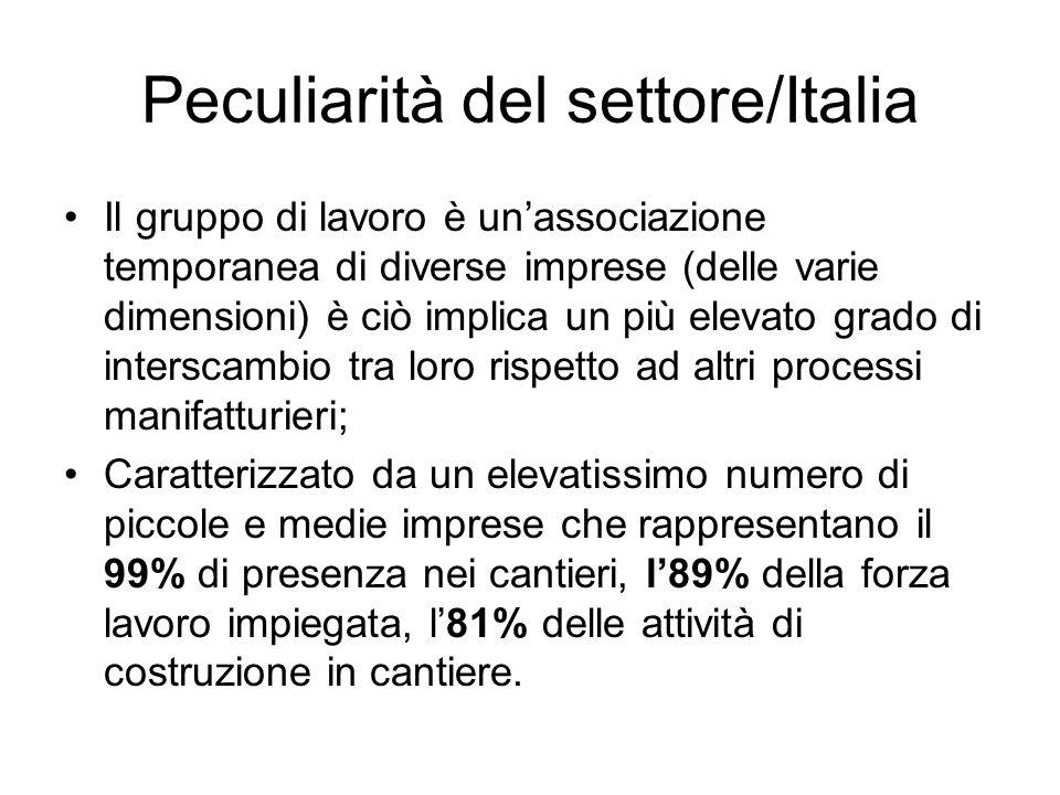 Peculiarità del settore/Italia Il gruppo di lavoro è unassociazione temporanea di diverse imprese (delle varie dimensioni) è ciò implica un più elevato grado di interscambio tra loro rispetto ad altri processi manifatturieri; Caratterizzato da un elevatissimo numero di piccole e medie imprese che rappresentano il 99% di presenza nei cantieri, l89% della forza lavoro impiegata, l81% delle attività di costruzione in cantiere.