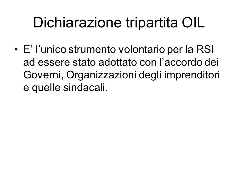 Dichiarazione tripartita OIL E lunico strumento volontario per la RSI ad essere stato adottato con laccordo dei Governi, Organizzazioni degli imprenditori e quelle sindacali.