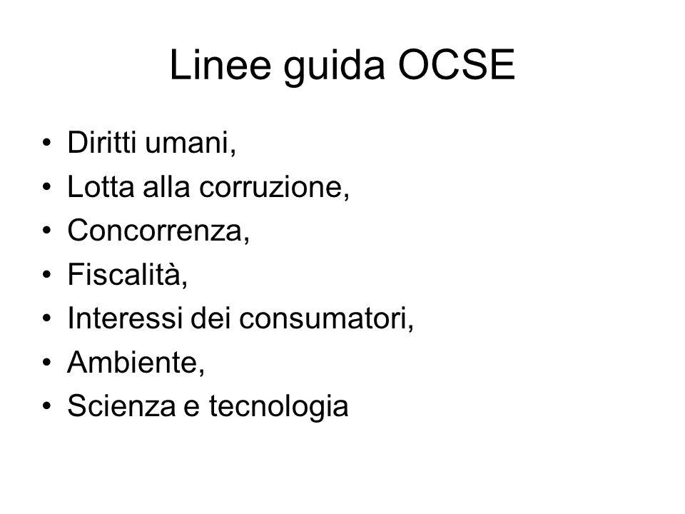 Linee guida OCSE Diritti umani, Lotta alla corruzione, Concorrenza, Fiscalità, Interessi dei consumatori, Ambiente, Scienza e tecnologia