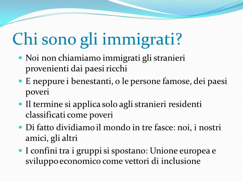 Chi sono gli immigrati? Noi non chiamiamo immigrati gli stranieri provenienti dai paesi ricchi E neppure i benestanti, o le persone famose, dei paesi