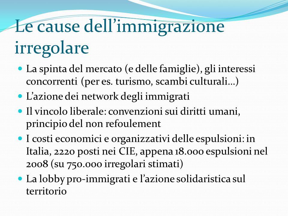 Le cause dellimmigrazione irregolare La spinta del mercato (e delle famiglie), gli interessi concorrenti (per es. turismo, scambi culturali…) Lazione