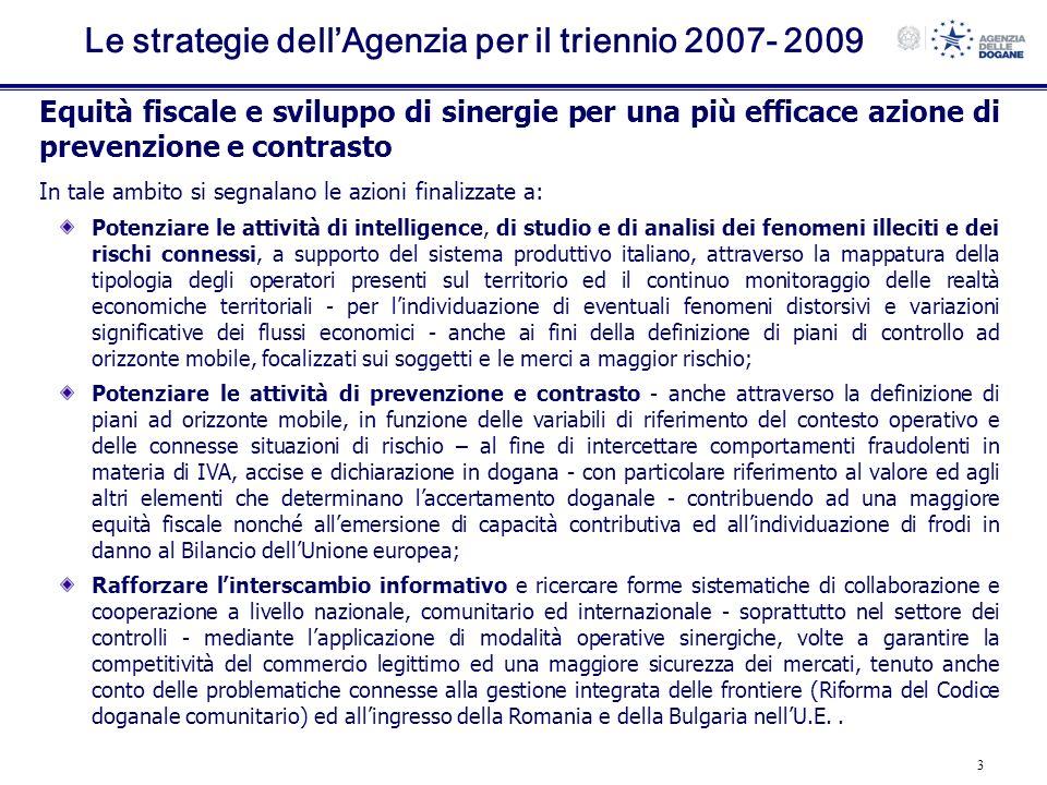 3 Le strategie dellAgenzia per il triennio 2007- 2009 Equità fiscale e sviluppo di sinergie per una più efficace azione di prevenzione e contrasto In