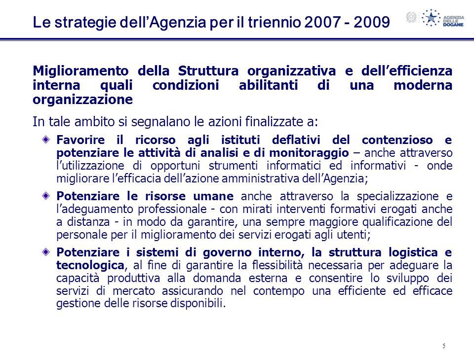 6 Il Piano dellAgenzia per il triennio 2007 - 2009 In linea con le strategie definite, sono stati delineati, nellambito di tre direttrici strategiche di intervento (DSI), gli obiettivi prioritari dellAgenzia (fattori critici di successo - FCS) nonché i connessi indicatori di qualità, efficacia ed efficienza (key performance indicator – KPI) con il relativo livello di risultato atteso (target).