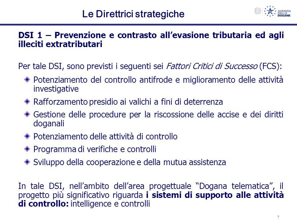 7 Le Direttrici strategiche DSI 1 – Prevenzione e contrasto allevasione tributaria ed agli illeciti extratributari Per tale DSI, sono previsti i segue
