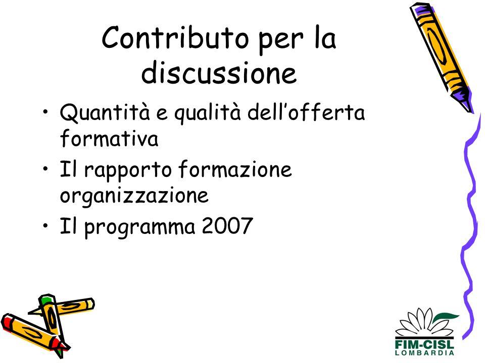 Contributo per la discussione Quantità e qualità dellofferta formativa Il rapporto formazione organizzazione Il programma 2007