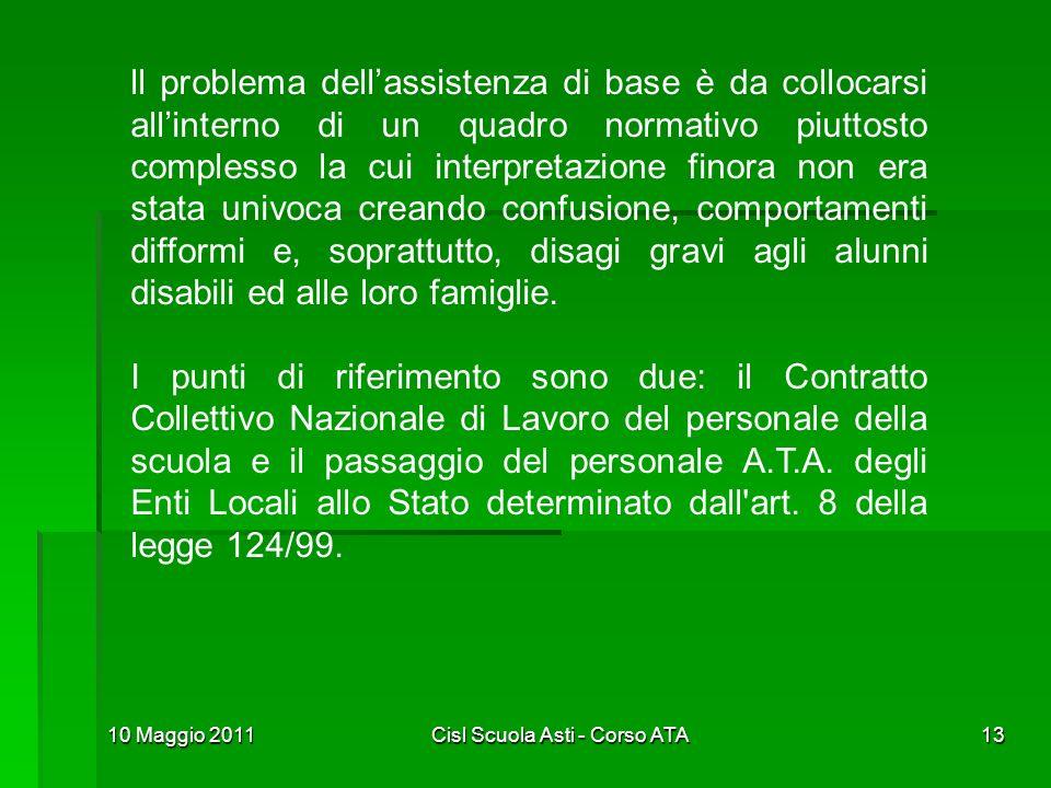 10 Maggio 2011Cisl Scuola Asti - Corso ATA13 ll problema dellassistenza di base è da collocarsi allinterno di un quadro normativo piuttosto complesso