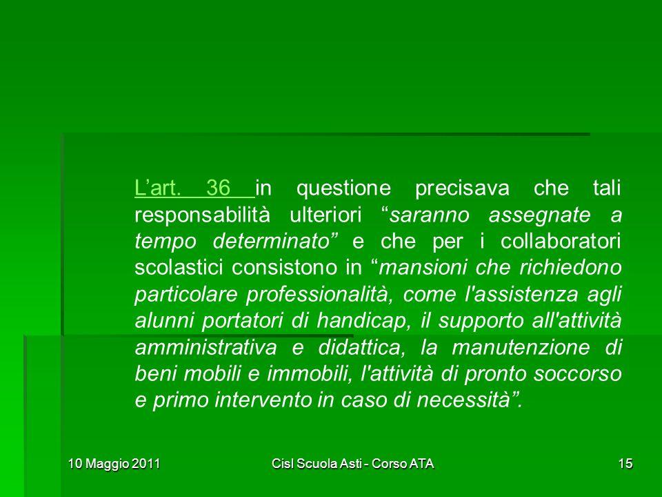 10 Maggio 2011Cisl Scuola Asti - Corso ATA15 Lart. 36 Lart. 36 in questione precisava che tali responsabilità ulteriori saranno assegnate a tempo dete