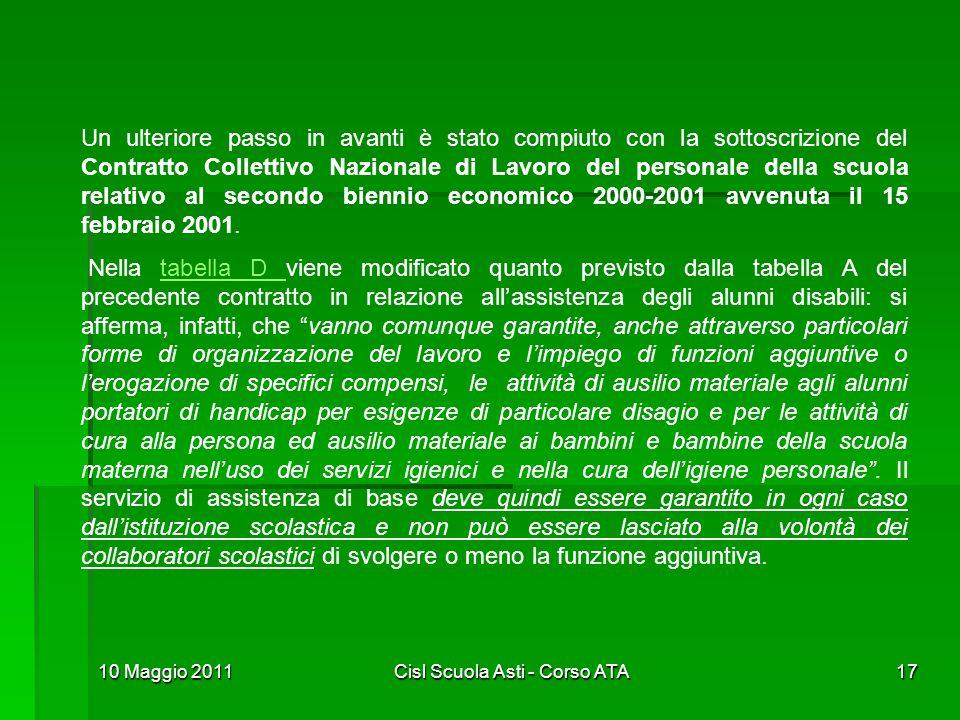 10 Maggio 2011Cisl Scuola Asti - Corso ATA17 Un ulteriore passo in avanti è stato compiuto con la sottoscrizione del Contratto Collettivo Nazionale di
