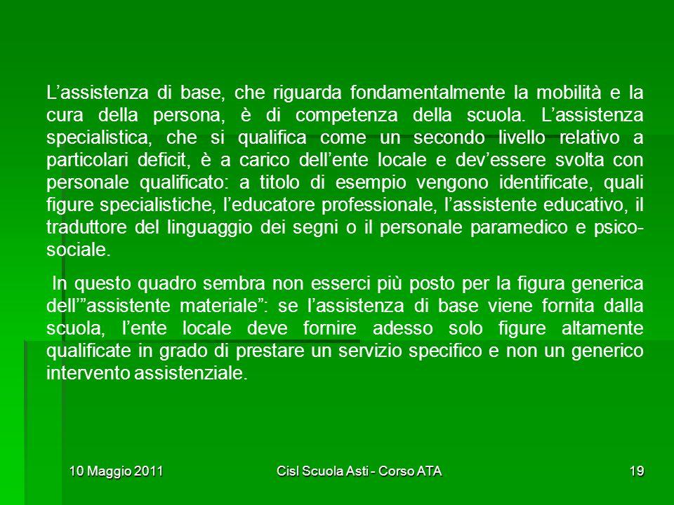 10 Maggio 2011Cisl Scuola Asti - Corso ATA19 Lassistenza di base, che riguarda fondamentalmente la mobilità e la cura della persona, è di competenza d