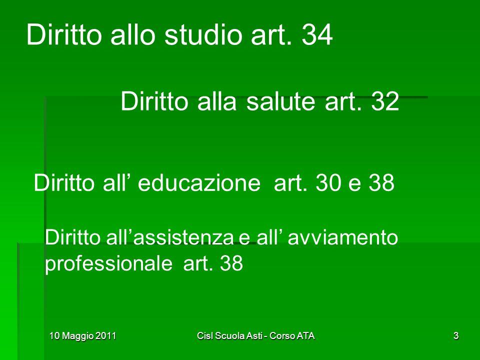 10 Maggio 2011Cisl Scuola Asti - Corso ATA3 Diritto allo studio art. 34 Diritto alla salute art. 32 Diritto all educazione art. 30 e 38 Diritto allass