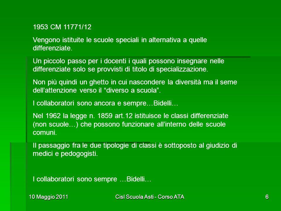 10 Maggio 2011Cisl Scuola Asti - Corso ATA6 1953 CM 11771/12 Vengono istituite le scuole speciali in alternativa a quelle differenziate. Un piccolo pa
