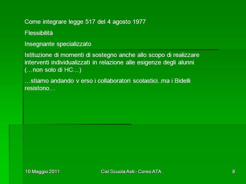 10 Maggio 2011Cisl Scuola Asti - Corso ATA8 Come integrare legge 517 del 4 agosto 1977 Flessibilità Insegnante specializzato Istituzione di momenti di