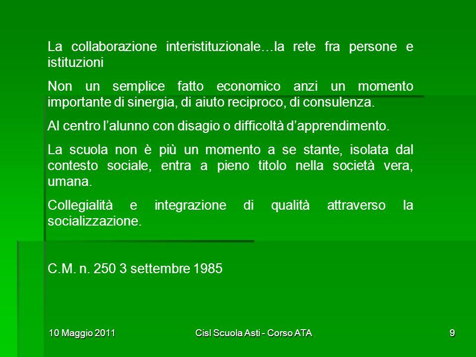 10 Maggio 2011Cisl Scuola Asti - Corso ATA9 La collaborazione interistituzionale…la rete fra persone e istituzioni Non un semplice fatto economico anz