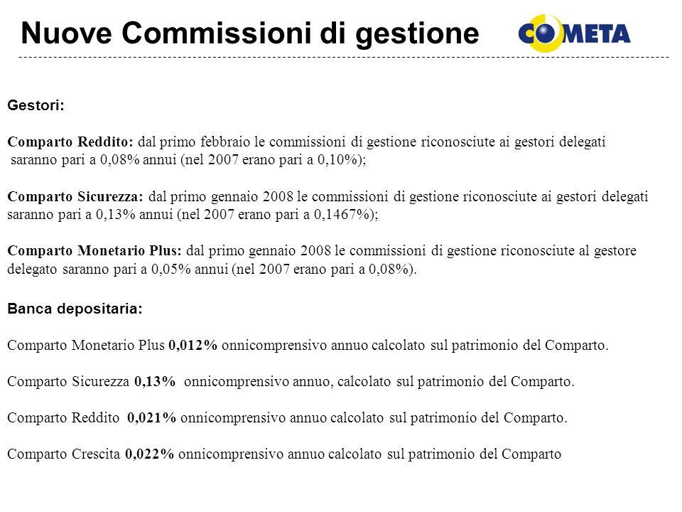 Nuove Commissioni di gestione Banca depositaria: Comparto Monetario Plus 0,012% onnicomprensivo annuo calcolato sul patrimonio del Comparto. Comparto