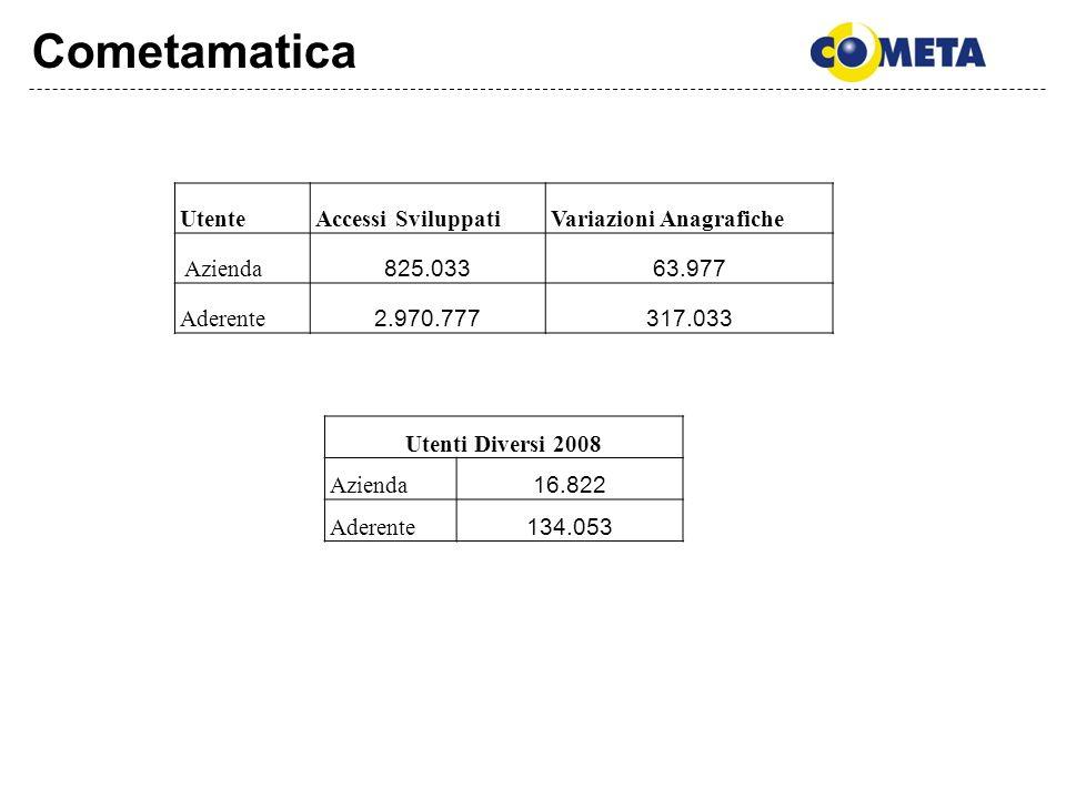 Cometamatica UtenteAccessi SviluppatiVariazioni Anagrafiche Azienda 825.03363.977 Aderente 2.970.777317.033 Utenti Diversi 2008 Azienda 16.822 Aderent